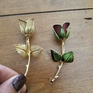 Set (2) Vintage Giovanni Rose pins